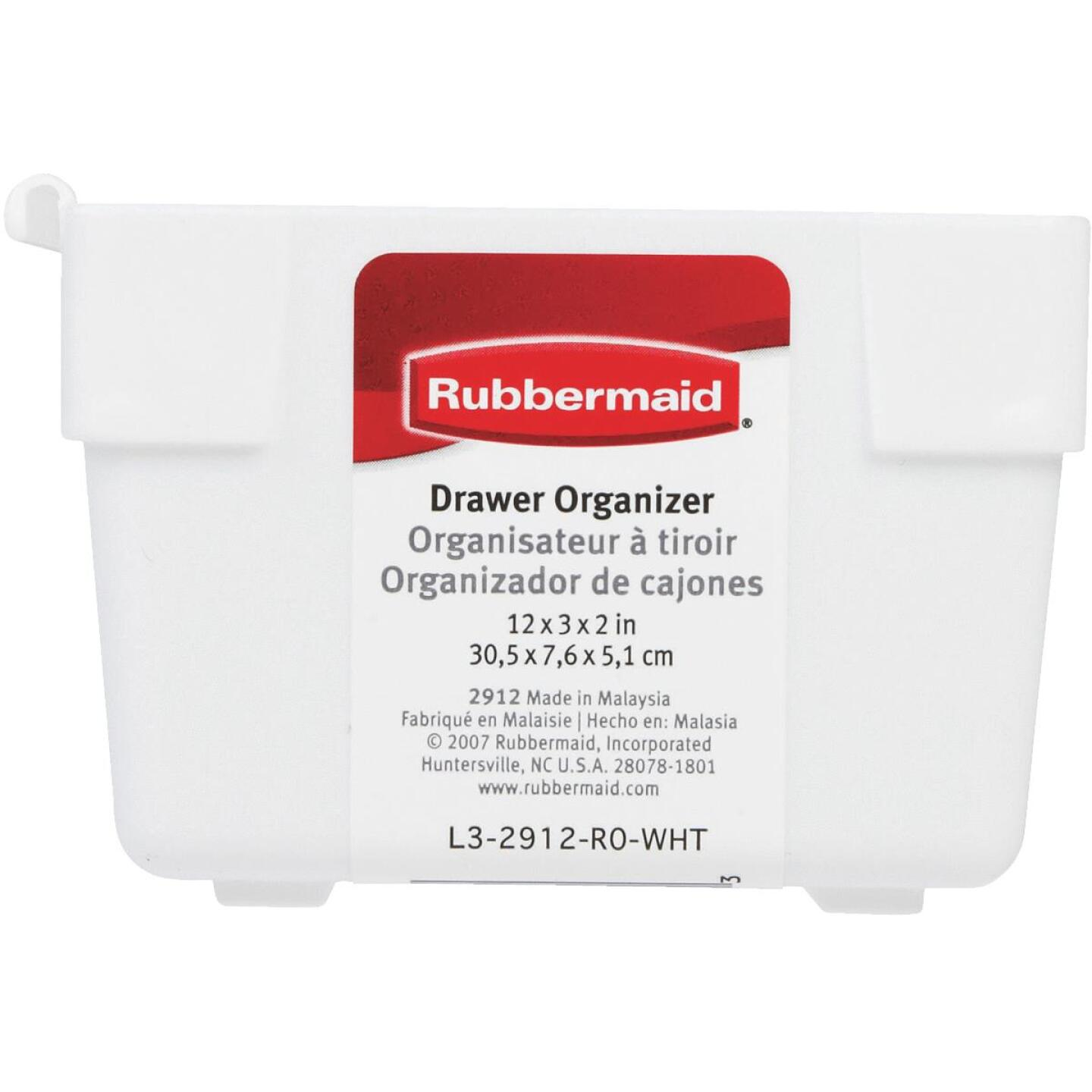 Rubbermaid 3 In. x 12 In. x 2 In. White Drawer Organizer Tray Image 3